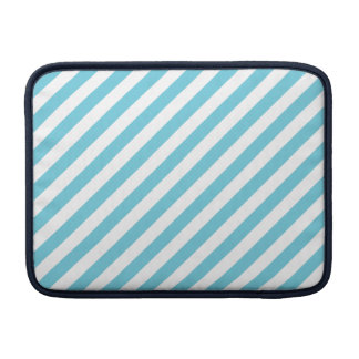 Blue and White Diagonal Stripes Pattern MacBook Sleeves