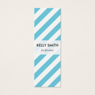 Blue and White Diagonal Stripes Pattern Mini Business Card