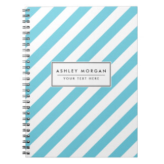 Blue and White Diagonal Stripes Pattern Notebook