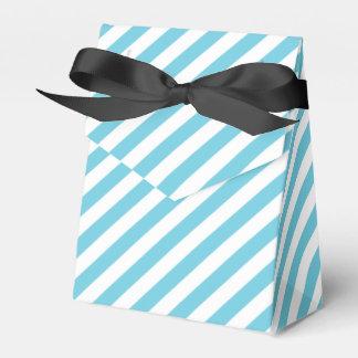 Blue and White Diagonal Stripes Pattern Party Favor Boxes
