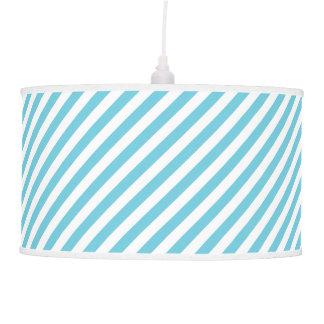 Blue and White Diagonal Stripes Pattern Pendant Lamp