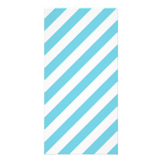Blue and White Diagonal Stripes Pattern Personalized Photo Card