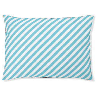 Blue and White Diagonal Stripes Pattern Pet Bed