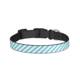 Blue and White Diagonal Stripes Pattern Pet Collar