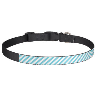 Blue and White Diagonal Stripes Pattern Pet Collars
