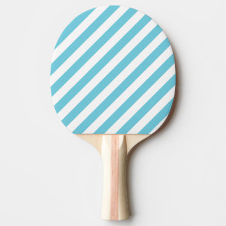 Blue and White Diagonal Stripes Pattern Ping Pong Paddle