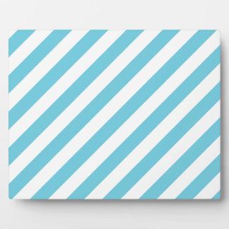 Blue and White Diagonal Stripes Pattern Plaque