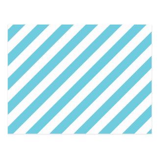 Blue and White Diagonal Stripes Pattern Postcard