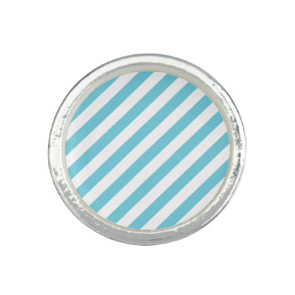Blue and White Diagonal Stripes Pattern Rings