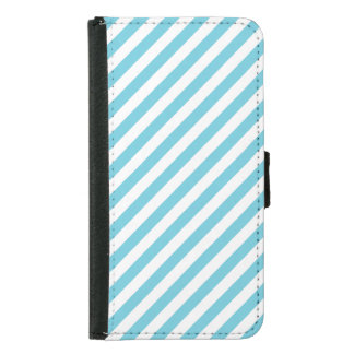 Blue and White Diagonal Stripes Pattern Samsung Galaxy S5 Wallet Case