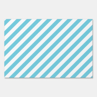 Blue and White Diagonal Stripes Pattern Sign