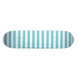 Blue and White Diagonal Stripes Pattern Skateboard Decks