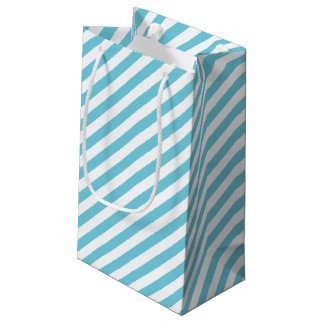 Blue and White Diagonal Stripes Pattern Small Gift Bag