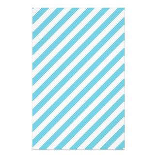 Blue and White Diagonal Stripes Pattern Stationery
