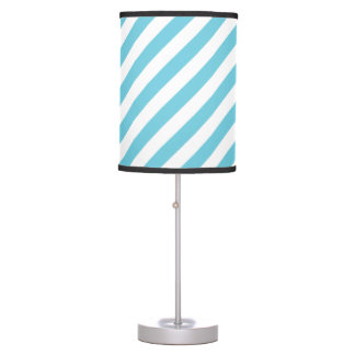 Blue and White Diagonal Stripes Pattern Table Lamp