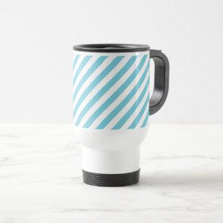 Blue and White Diagonal Stripes Pattern Travel Mug