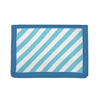 Blue and White Diagonal Stripes Pattern Tri-fold Wallet