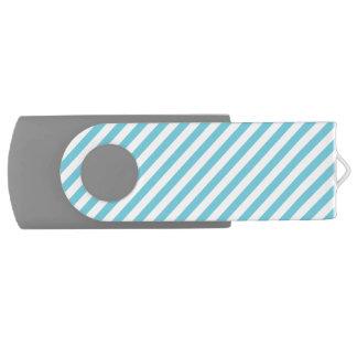 Blue and White Diagonal Stripes Pattern USB Flash Drive