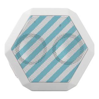 Blue and White Diagonal Stripes Pattern White Bluetooth Speaker