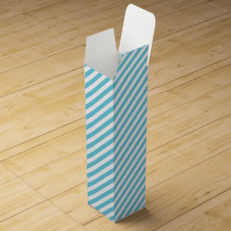 Blue and White Diagonal Stripes Pattern Wine Gift Box