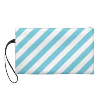 Blue and White Diagonal Stripes Pattern Wristlet