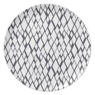 Blue and White Diamond Design Plate