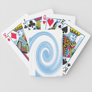 Blue and White Digital Graphic Spiral Wave Bicycle Playing Cards