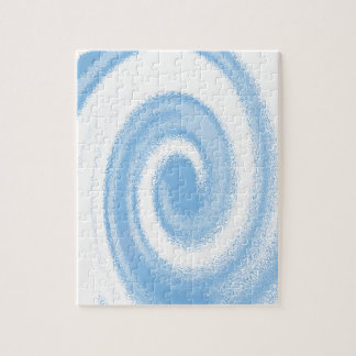 Blue and White Digital Graphic Spiral Wave Jigsaw Puzzle