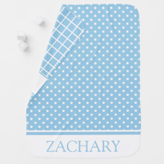 Blue and White Dots and Checks Personalized Baby Blanket