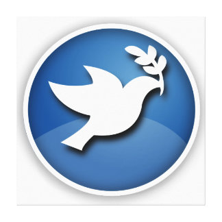 Blue and White Dove of Peace Canvas Prints