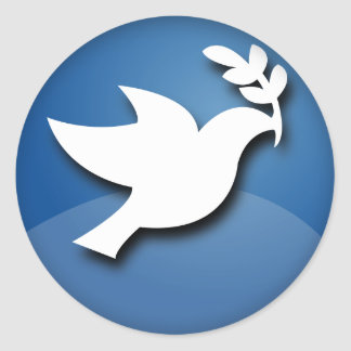 Blue and White Dove of Peace Classic Round Sticker