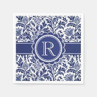 Blue and White Elegance William Morris Monogram Disposable Napkins