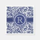 Blue and White Elegance William Morris Monogram Paper Napkin