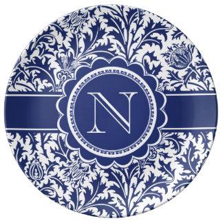 Blue and White Elegance William Morris Monogram Plate