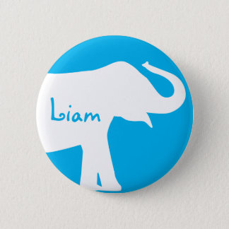 Blue and White Elephant Custom Monogram 2 Inch Round Button