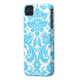 Blue and White Fancy Damask Patterned iPhone 4 Cover