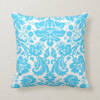 Blue and White Fancy Damask Patterned Throw Pillow