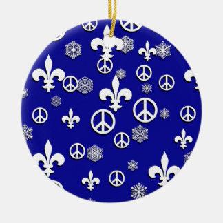 Blue and White Fleur de Lis Peace Ornament