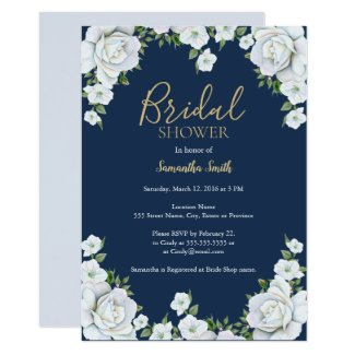 Blue and white floral bridal shower card