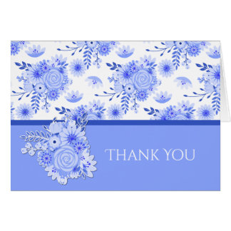 Blue and White Floral Bridal Shower Thank You Card
