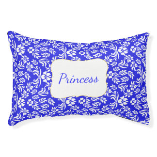 Blue and White Floral Damask Custom Pet Bed