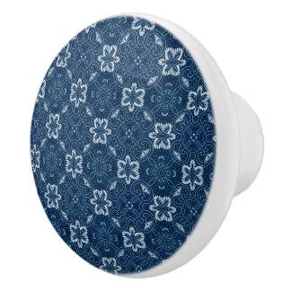 Blue and White Floral Design Ceramic Knob