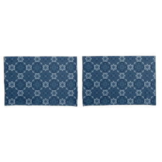 Blue and White Floral Design Pair of Pillowcases