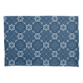 Blue and White Floral Design Pillowcase