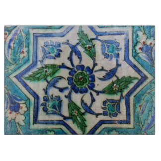 Blue and white floral Ottoman era tile design Cutting Board