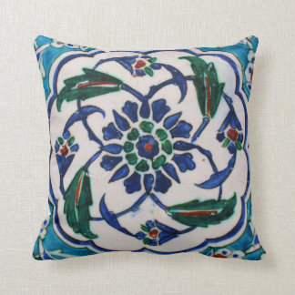 Blue and white floral Ottoman era tile design Throw Pillow