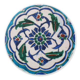 Blue And White Floral Ottoman Isnik Tiles Ceramic Knob