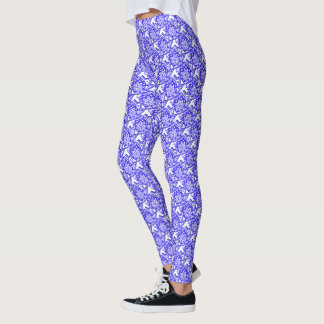 Blue and White Floral Patterned Leggings