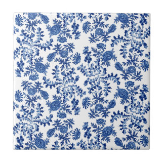 Blue and White Floral Tile