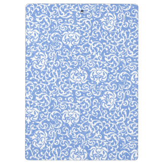 Blue and White Floral Tudor Damask Vintage Style Clipboard